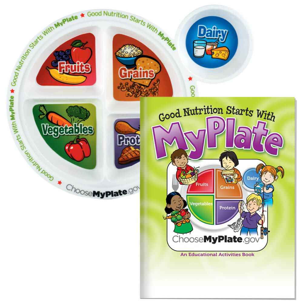MyPlate Child's Portion Meal Plate With Educational Activities Book