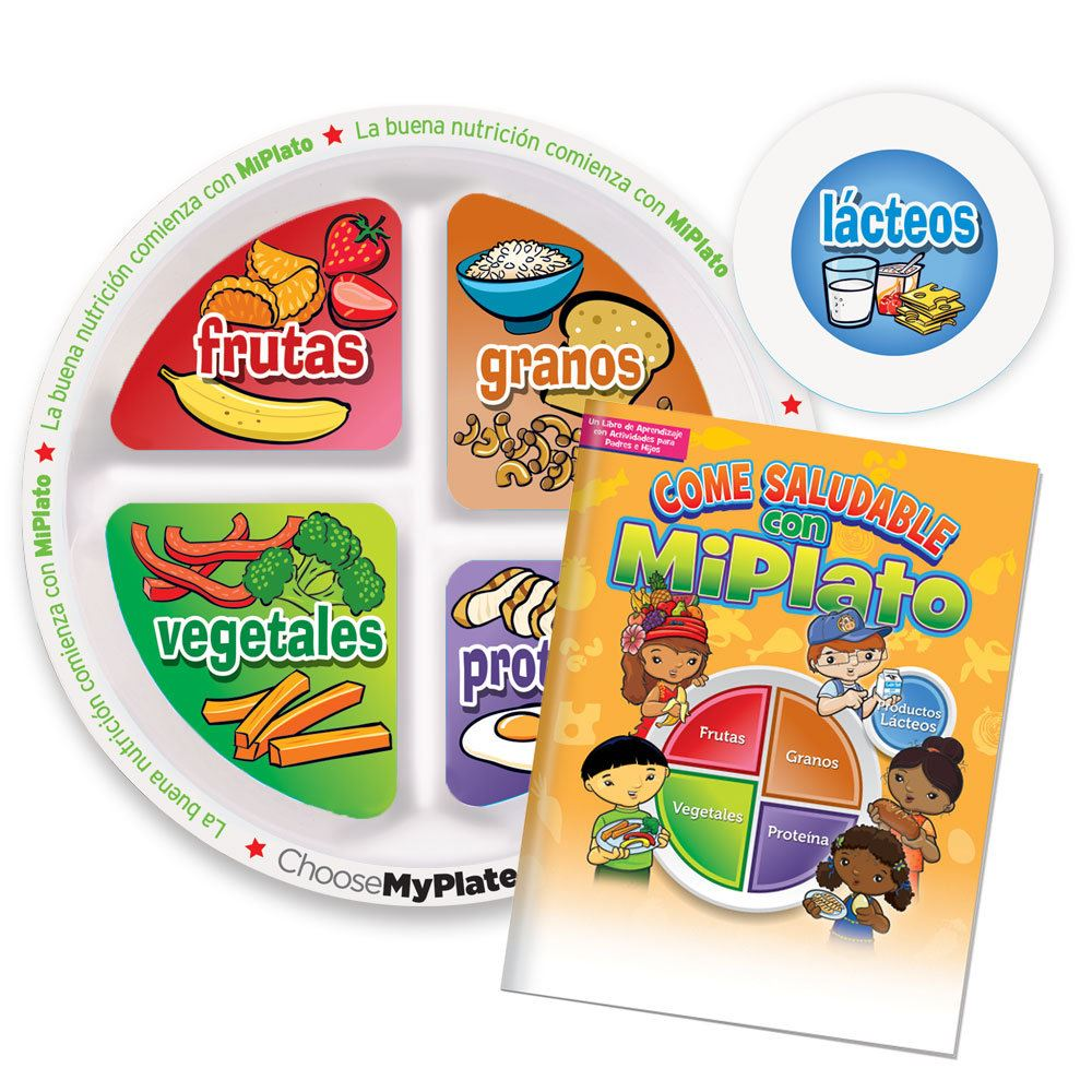 MyPlate Preschool Portion Meal Plate With Spanish Language Parent-Child Activities Book