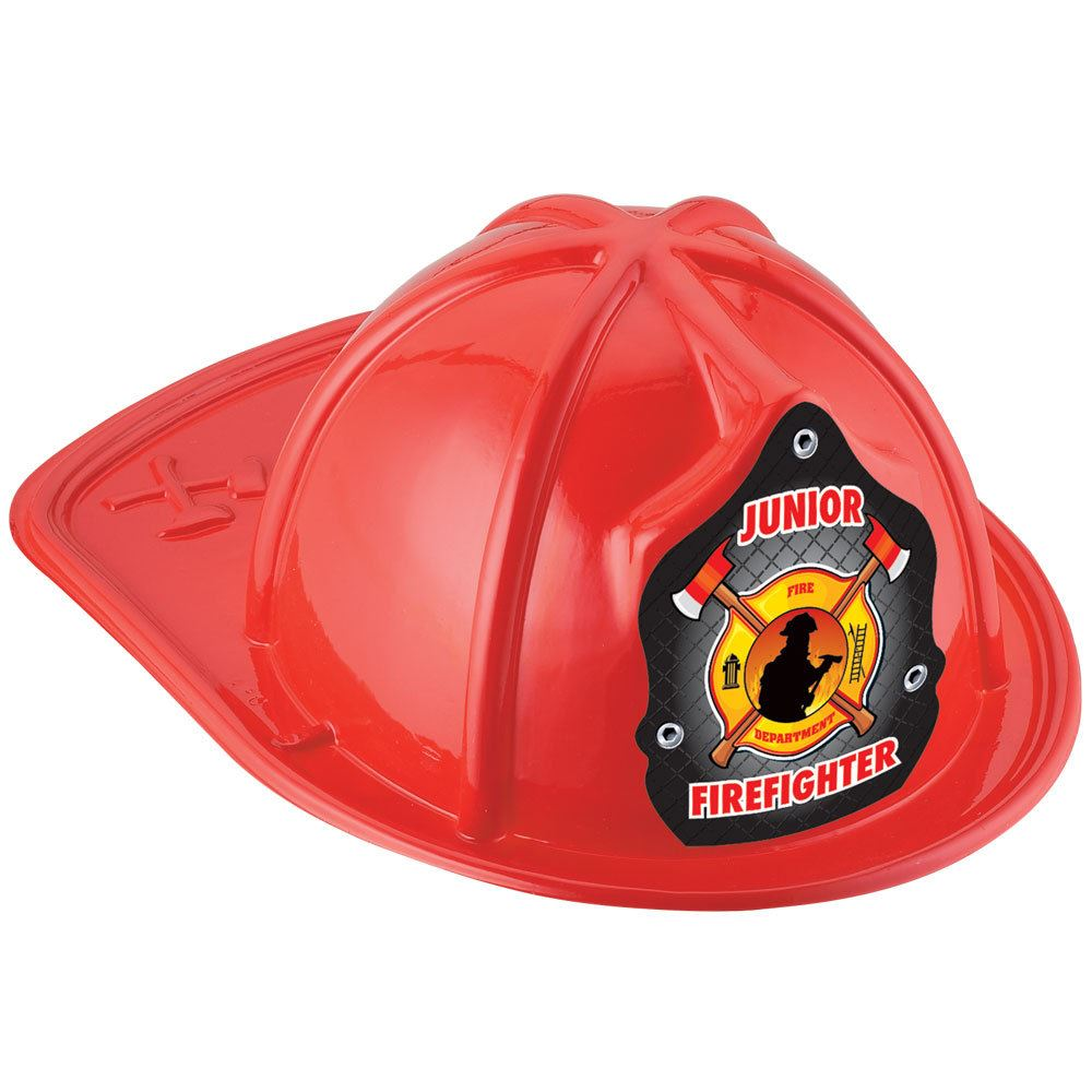 Red Junior Firefighter Hat With Fireman & Axe Design