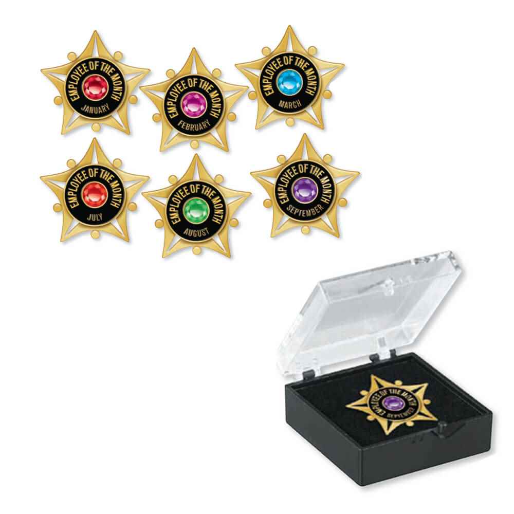 Employee Of The Month Star & Jewel Lapel Pin Set