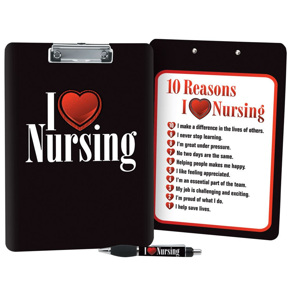 I (Heart) Nursing Full-Color Clipboard & Pen Gift Set