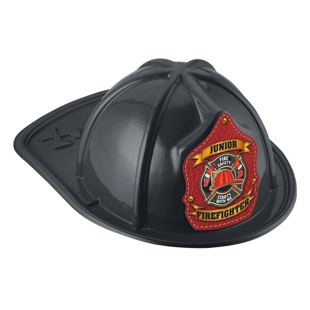 Junior Firefighter Hat (Black) - Fire Safety Starts With Me