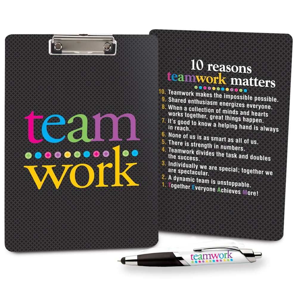 Teamwork Clipboard & Full-Color Pen Gift Set