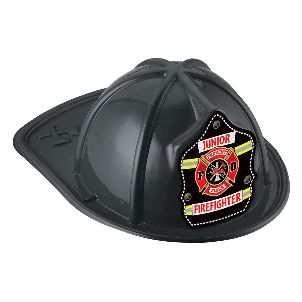 Yellow/Silver Stripe Junior Firefighter Hat (Black)