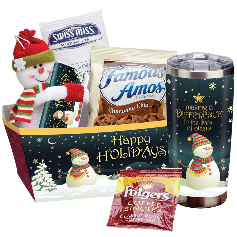 Happy Holidays Gift Basket With Treats plus Gift Card and Bow