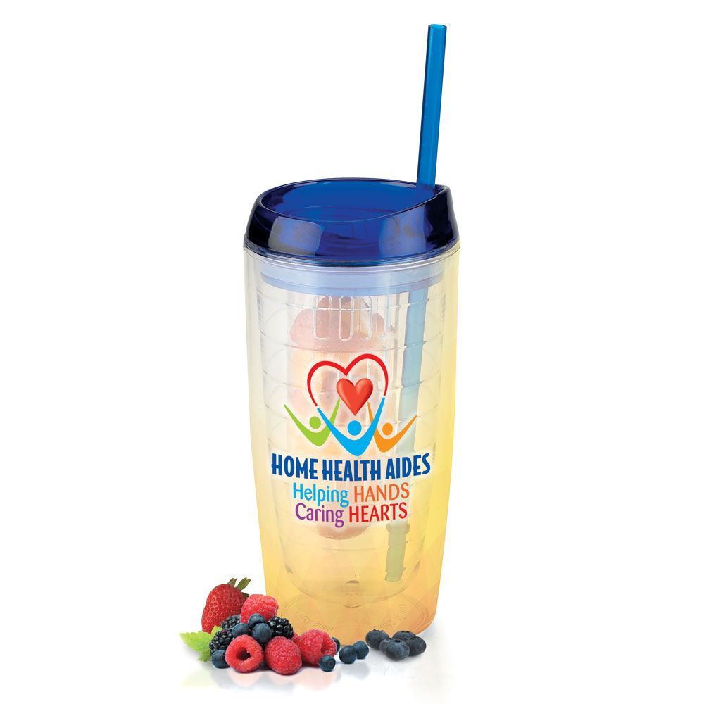 Home Health Aides: Helping Hands Caring Hearts Double-Wall Acrylic Tumbler With Fruit Infuser/Straw 16-oz.