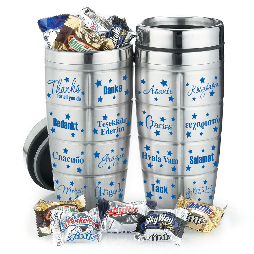 Thanks For All You Do Stainless Steel Message Tumbler With Chocolates 16-Oz.