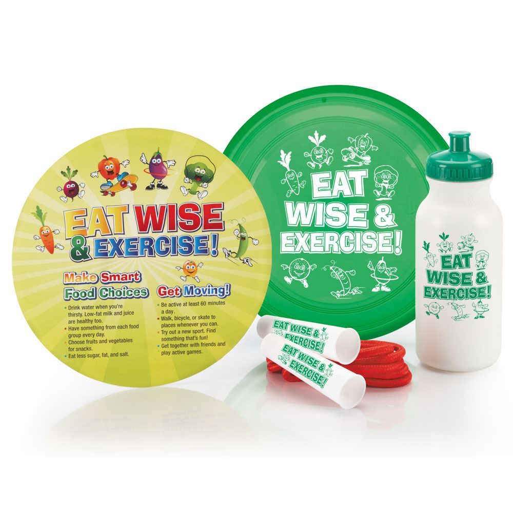 Eat Wise & Exercise! Water Bottle 20-Oz., Jump Rope, Flyer Disc, & Educational Card Combo