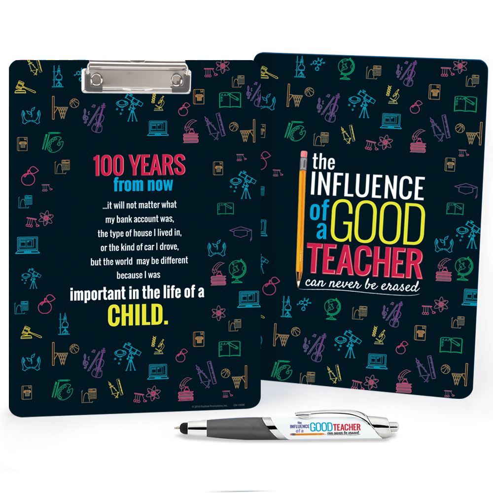 The Influence Of A Good Teacher Can Never Be Erased Clipboard & Pen Set