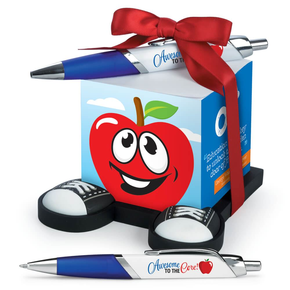 Awesome To The Core! Apple Note Cube & Full-Color Pen Gift Set