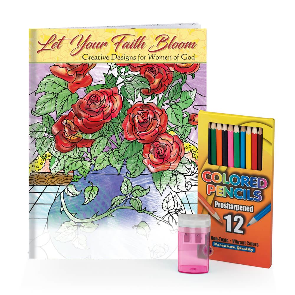 Let Your Faith Bloom Adult Coloring Book, Pencils, & Sharpener Gift ...