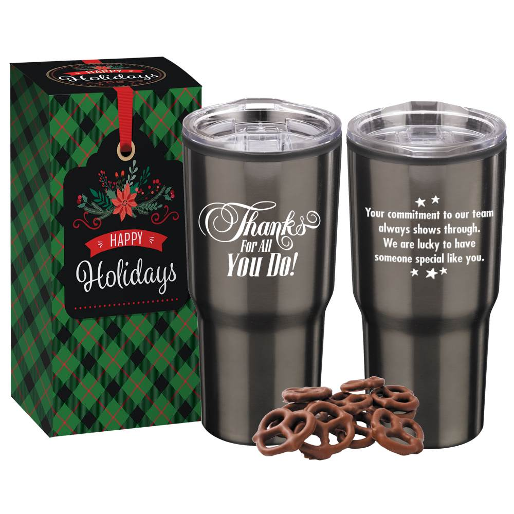 Thanks For All You Do! Titanium Timber Tumbler 20-Oz. With Pretzels in Holiday Gift Box