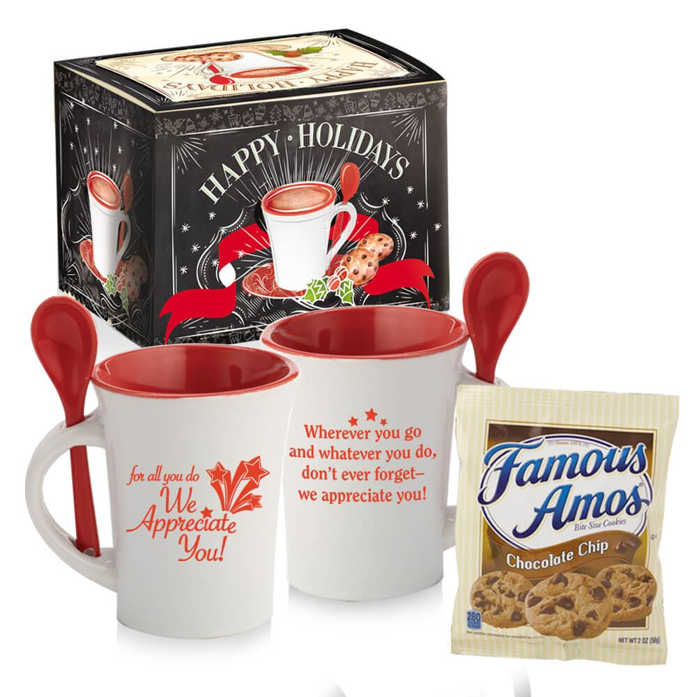 Ceramic Spooner Mug 8-Oz. With Cookies in Holiday Gift Box | Positive Promotions