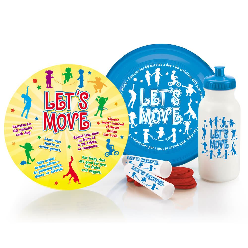Let's Move! Flyer Disc & Educational Card, Jump Rope, and Water Bottle Combo