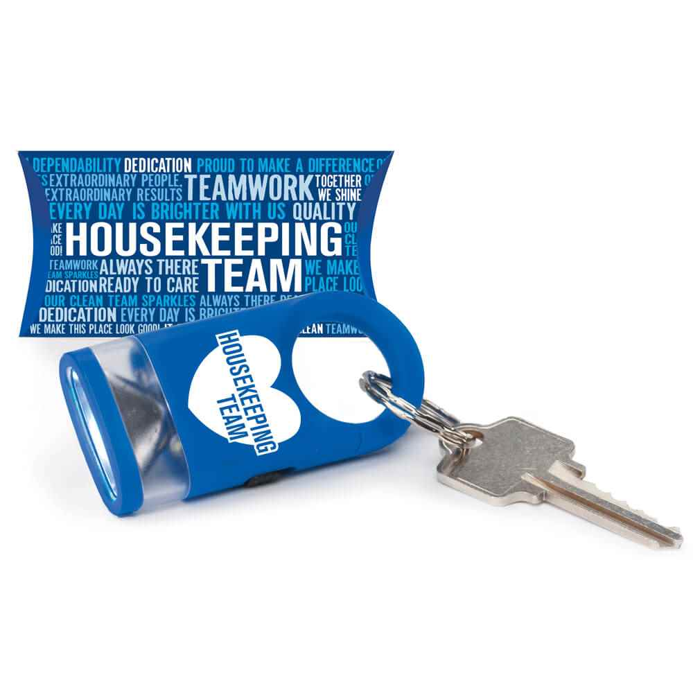 Housekeeping Team Heart Word Cloud LED Carabiner Flashlight Lamp with Pillow Box
