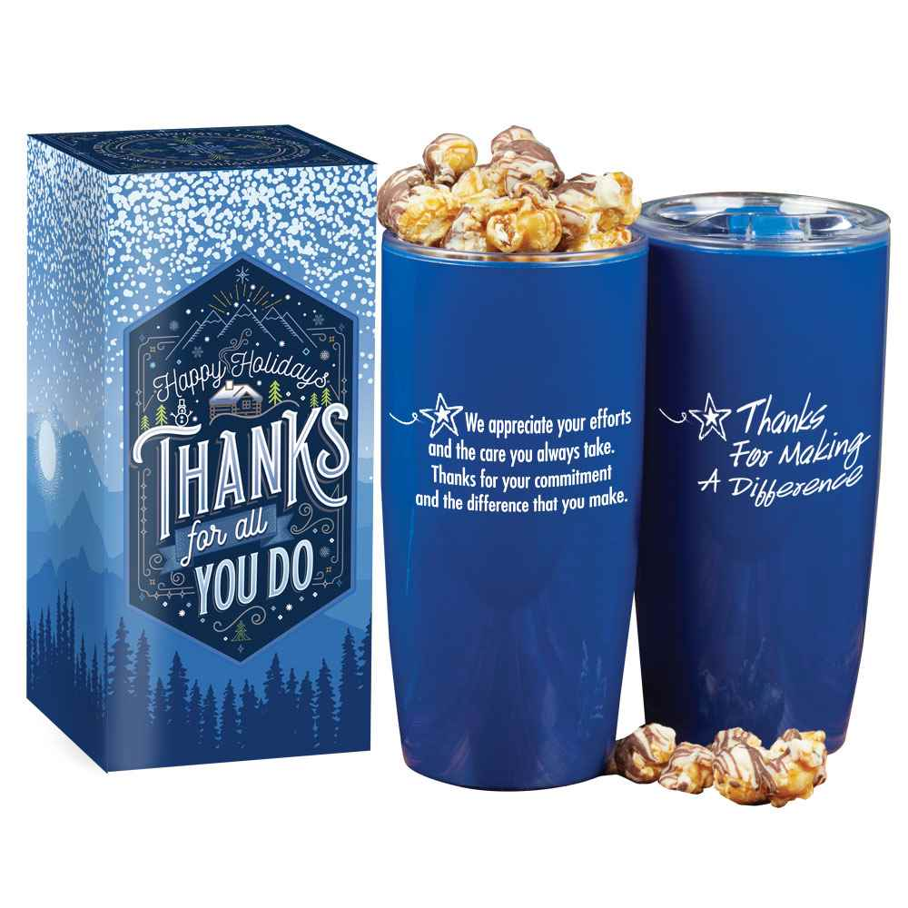 Thanks For Making A Difference Insulated Acrylic Tumbler 19-Oz. With Gourmet Popcorn in Holiday Gift Box