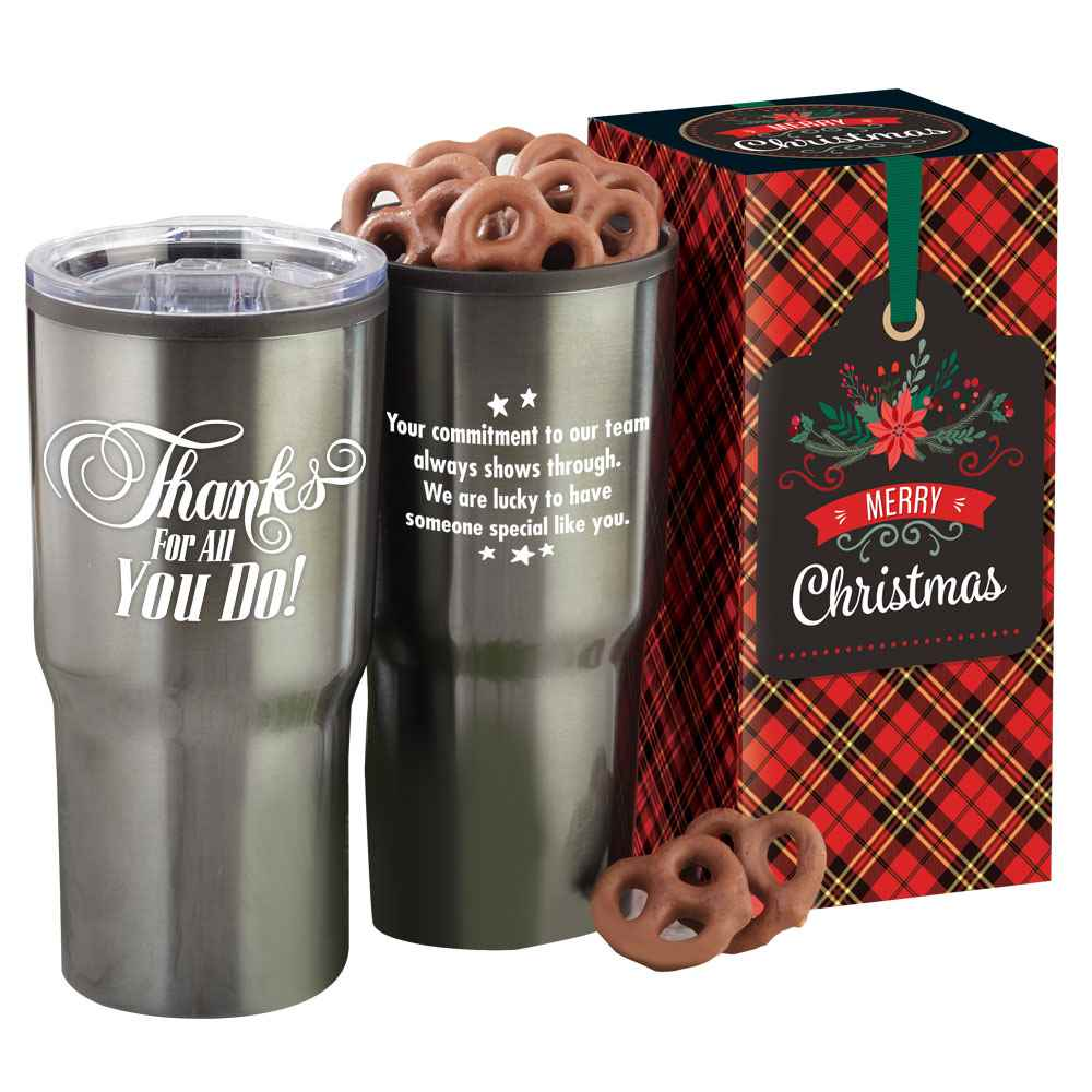 Thanks For All You Do! Merry Christmas Gift Box With Tumbler & Treats