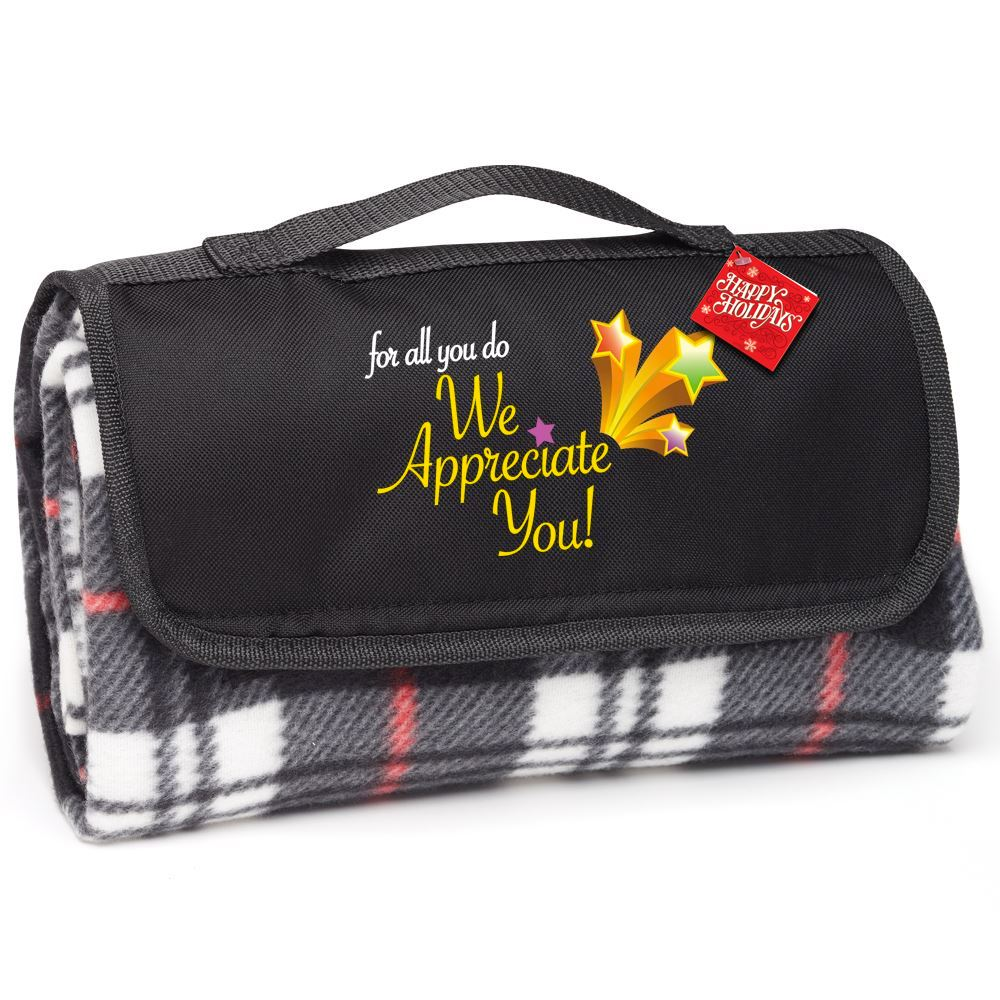 For All You Do, We Appreciate You! Plaid Fleece Blanket With Holiday Gift Card