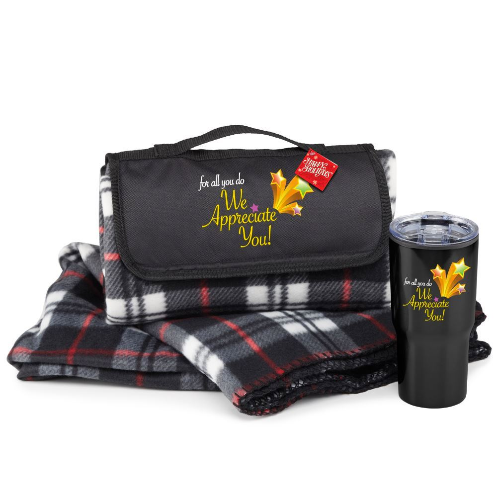 For All You Do, We Appreciate You! Plaid Fleece Blanket & Tumbler Gift Set with Holiday Gift Card and Sleeve