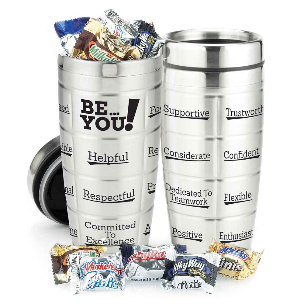 Be You Stainless Steel Message Tumbler 16-Oz. With Chocolates