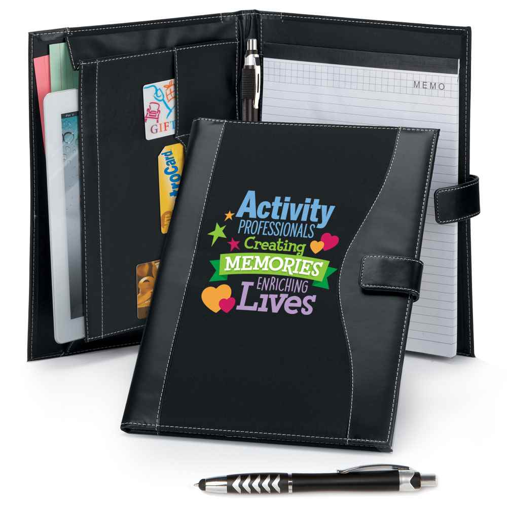 Activity Professionals: Creating Memories, Enriching Lives Leatherette Portfolio With Stylus Pen