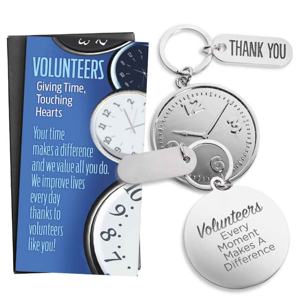 Volunteers: Every Moment Makes A Difference Clock Key Tag & Thank You Charm With Keepsake Card