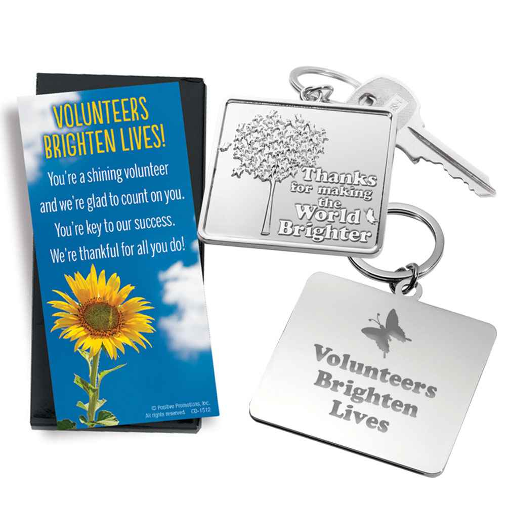 Thanks For Making The World Brighter Volunteers Key Tag with Keepsake Card