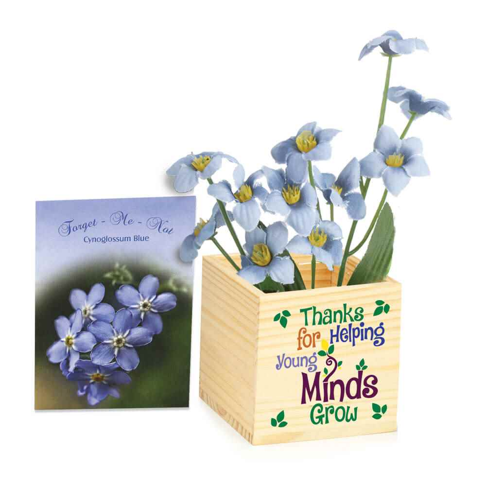 Thanks For Helping Young Minds Grow Wooden Flowerpot Cube