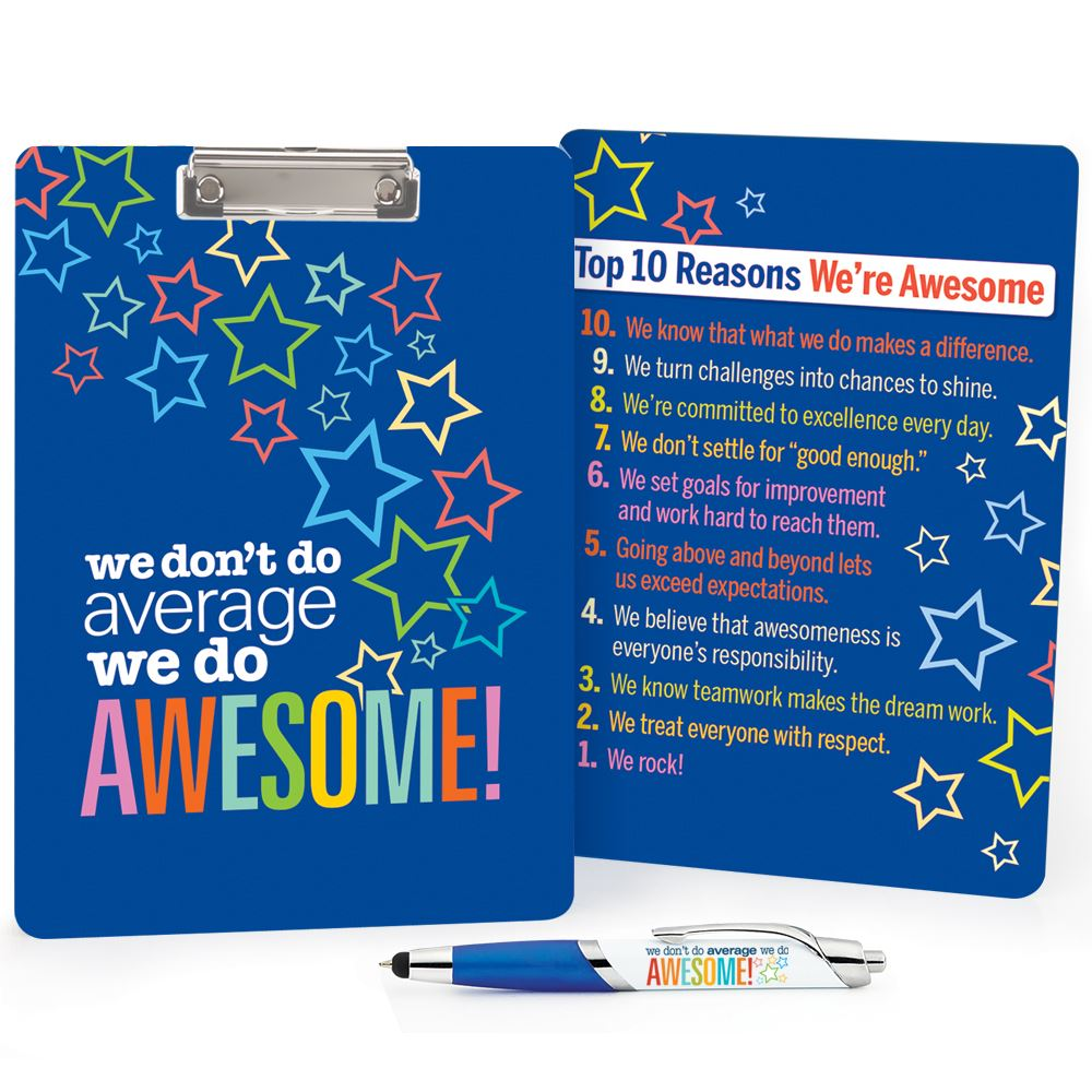 We Don't Do Average, We Do Awesome! Clipboard & Full-Color Pen Value Set