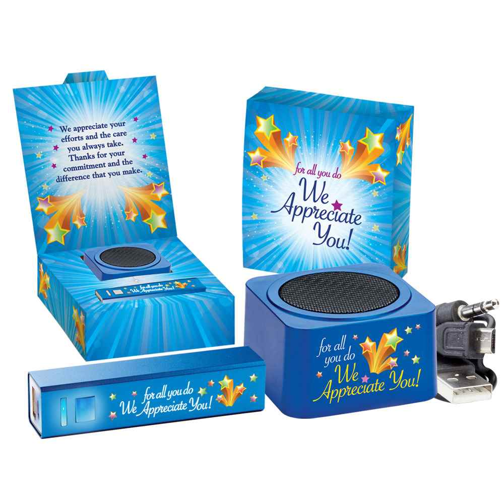 For All You Do We Appreciate You Bluetooth® Speaker & UL® Metal Power Bank Gift Set