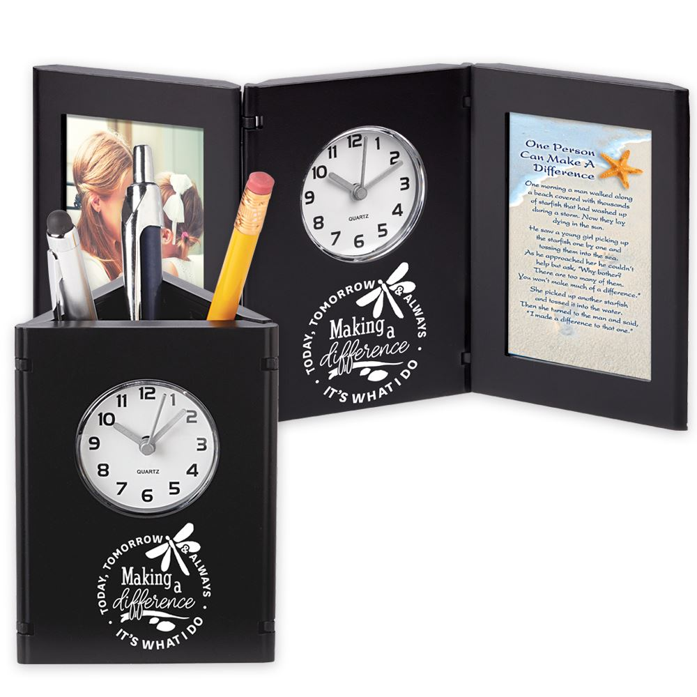 Making A Difference Today, Tomorrow & Always Black Tri-Fold Frame Clock & Caddy With Card