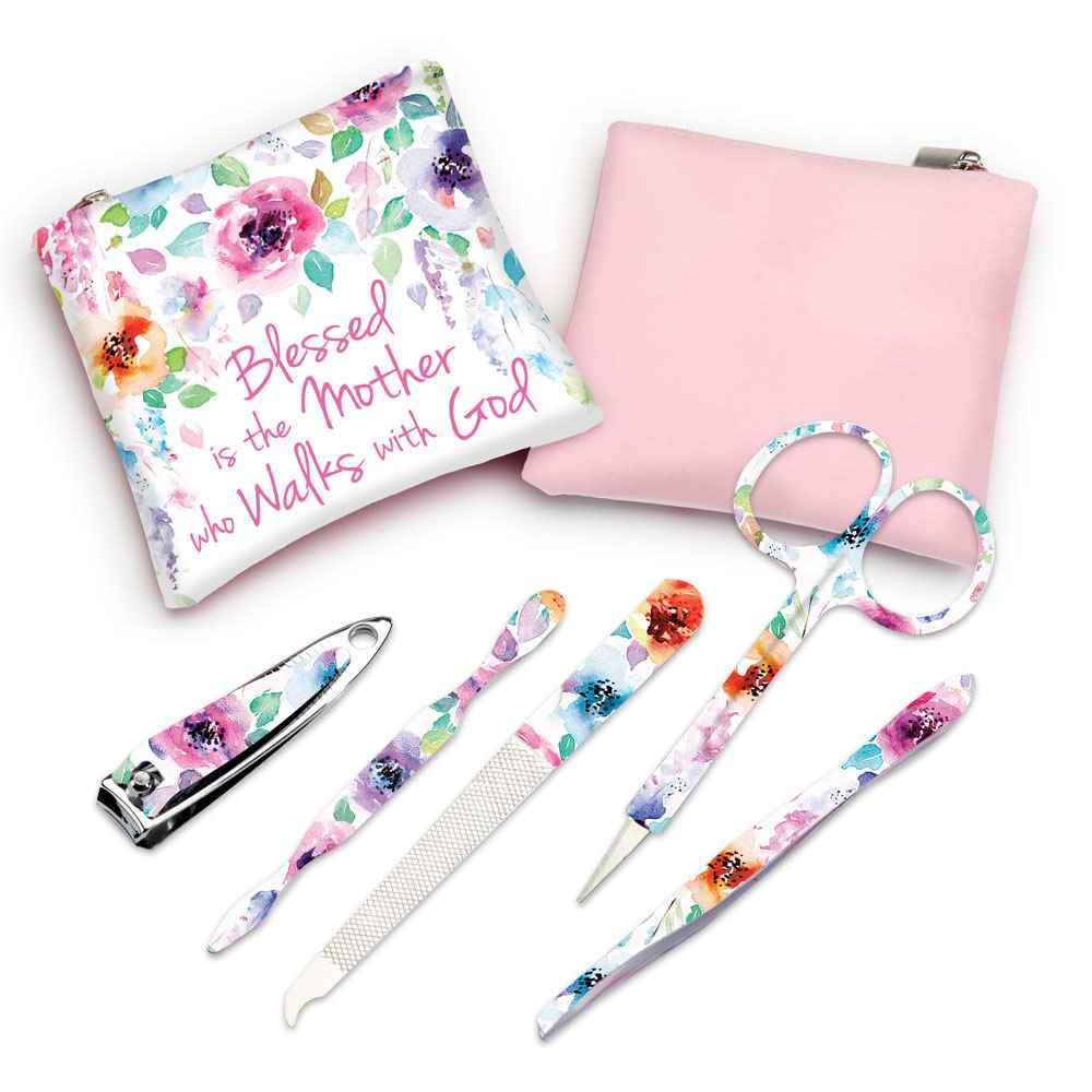 Blessed Is The Mother Who Walks With God Floral Manicure Set