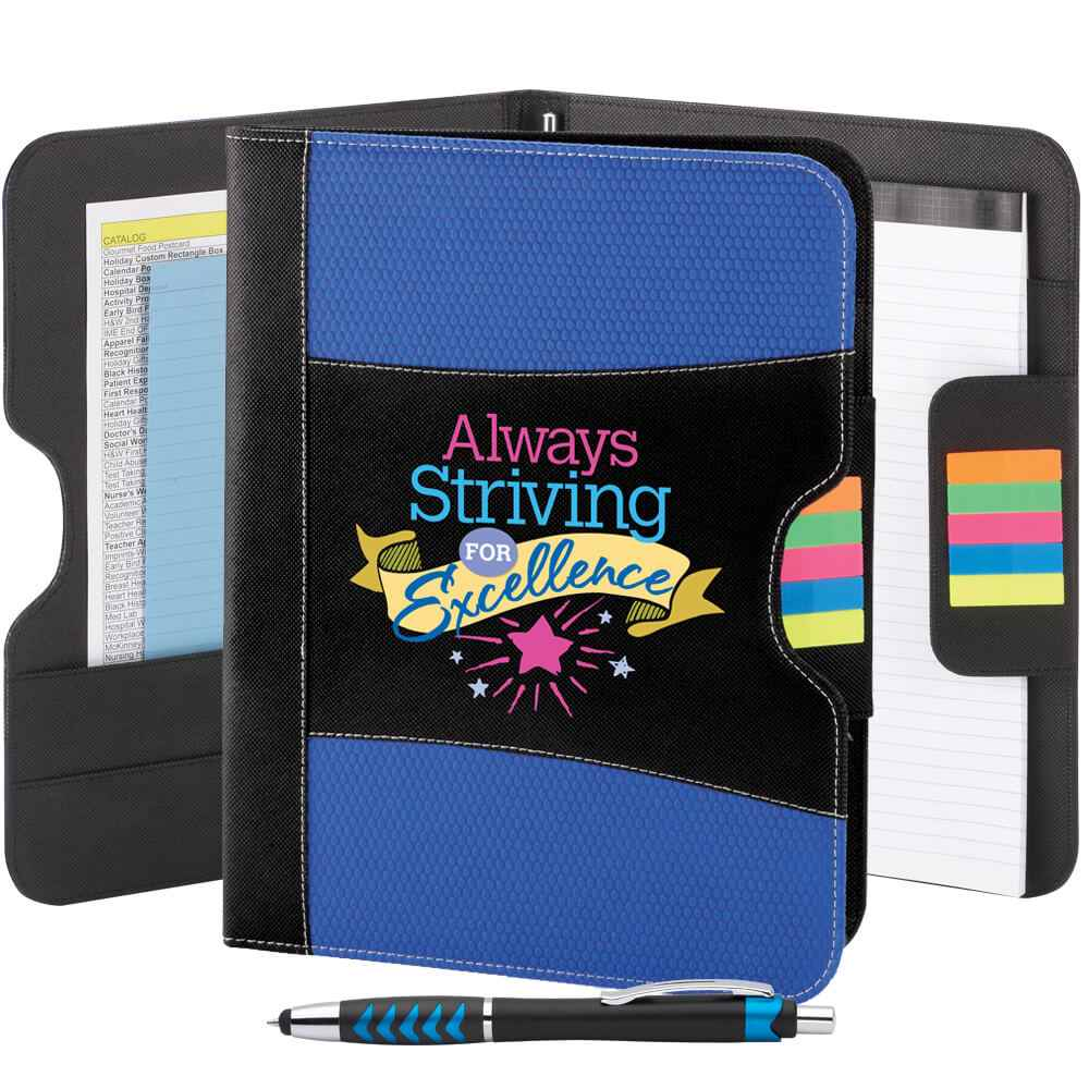 Always Striving For Excellence Raleigh Organization Portfolio with Stylus Pen
