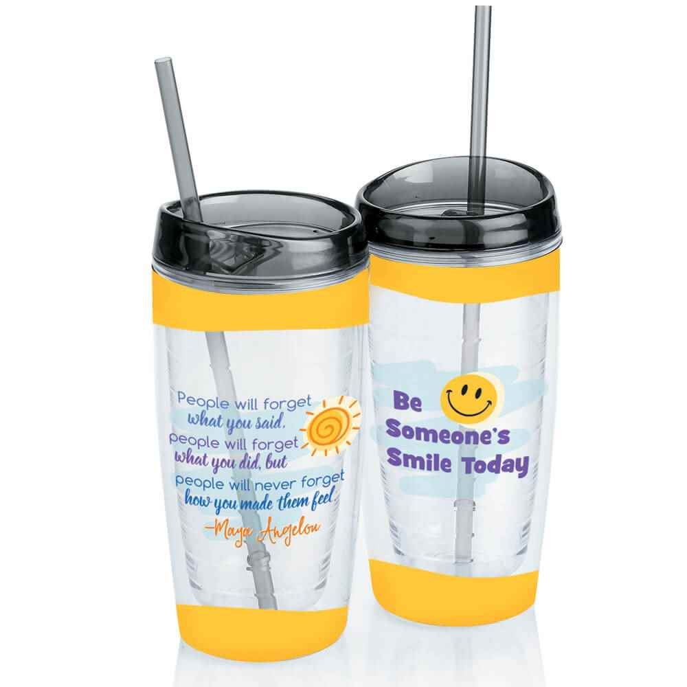 Maya Angelou Quote Double-Wall Acrylic Tumbler with Straw 16-Oz.