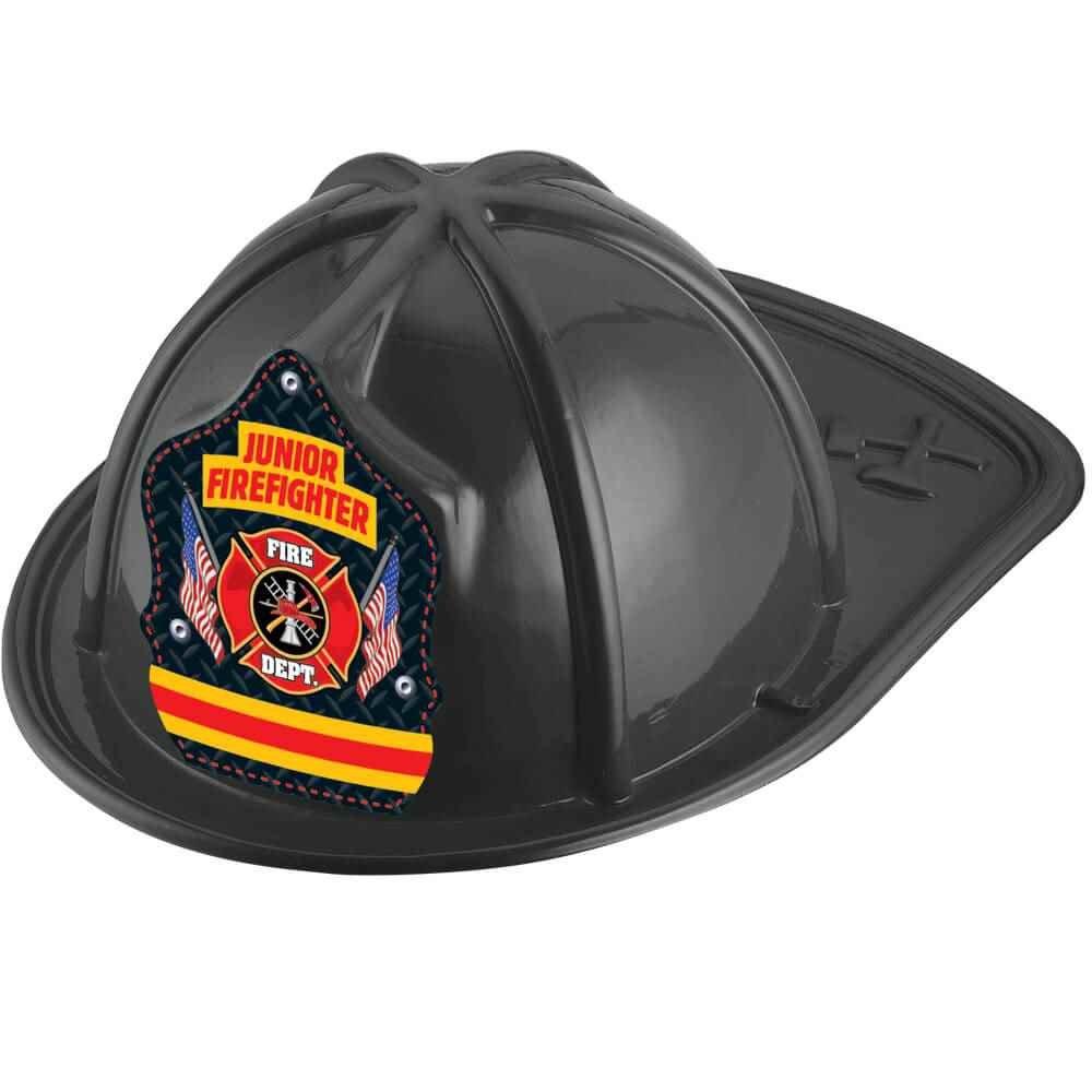Black Junior Firefighter Hat With Maltese Cross & Flag