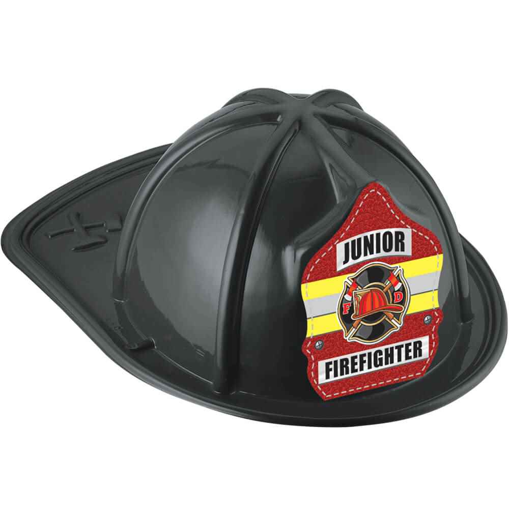 Black Junior Firefighter Hat with Maltese Cross & Yellow Stripe