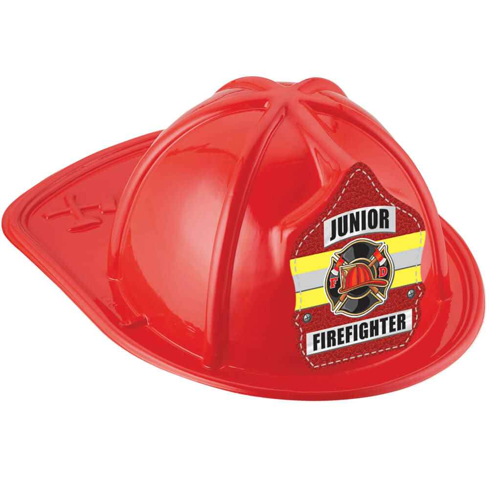 Red Junior Firefighter Hat with Maltese Cross & Yellow Stripe