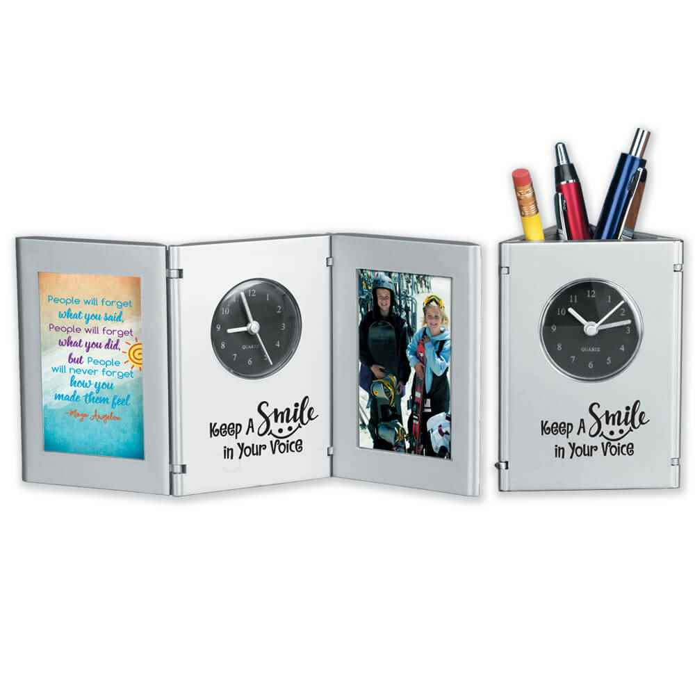 Keep A Smile In Your Voice Tri-Fold Desk Caddy With Card