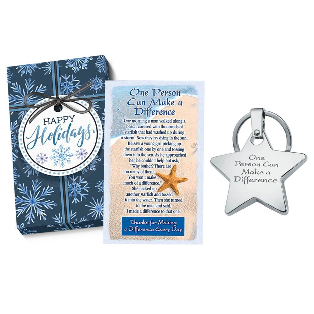 One Person Can Make A Difference Star Key Tag Gift Set with Holiday Gift Box