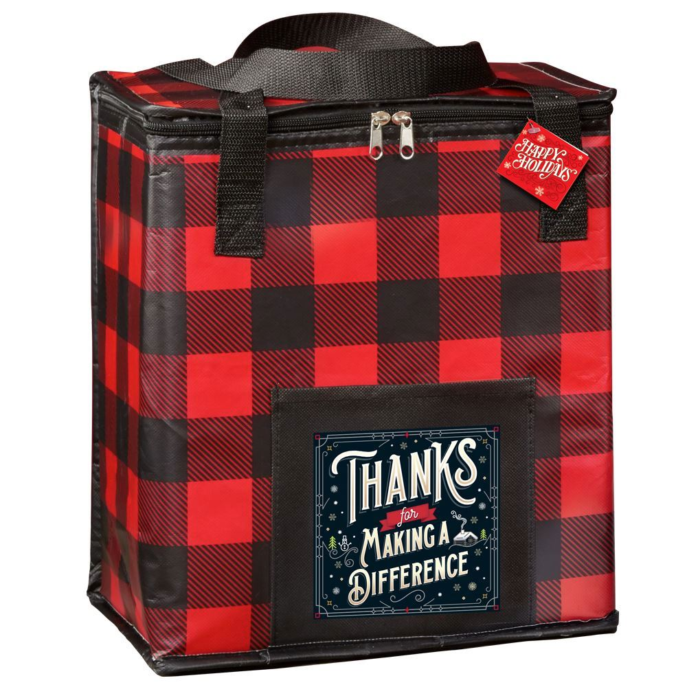Thanks For Making A Difference Buffalo Plaid Laminated Insulated Cooler Bag With Holiday Gift Card