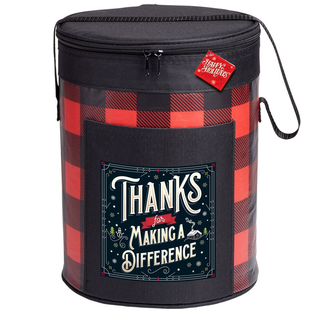 Thanks For Making A Difference Buffalo Plaid Barrel Cooler With Holiday Gift Card