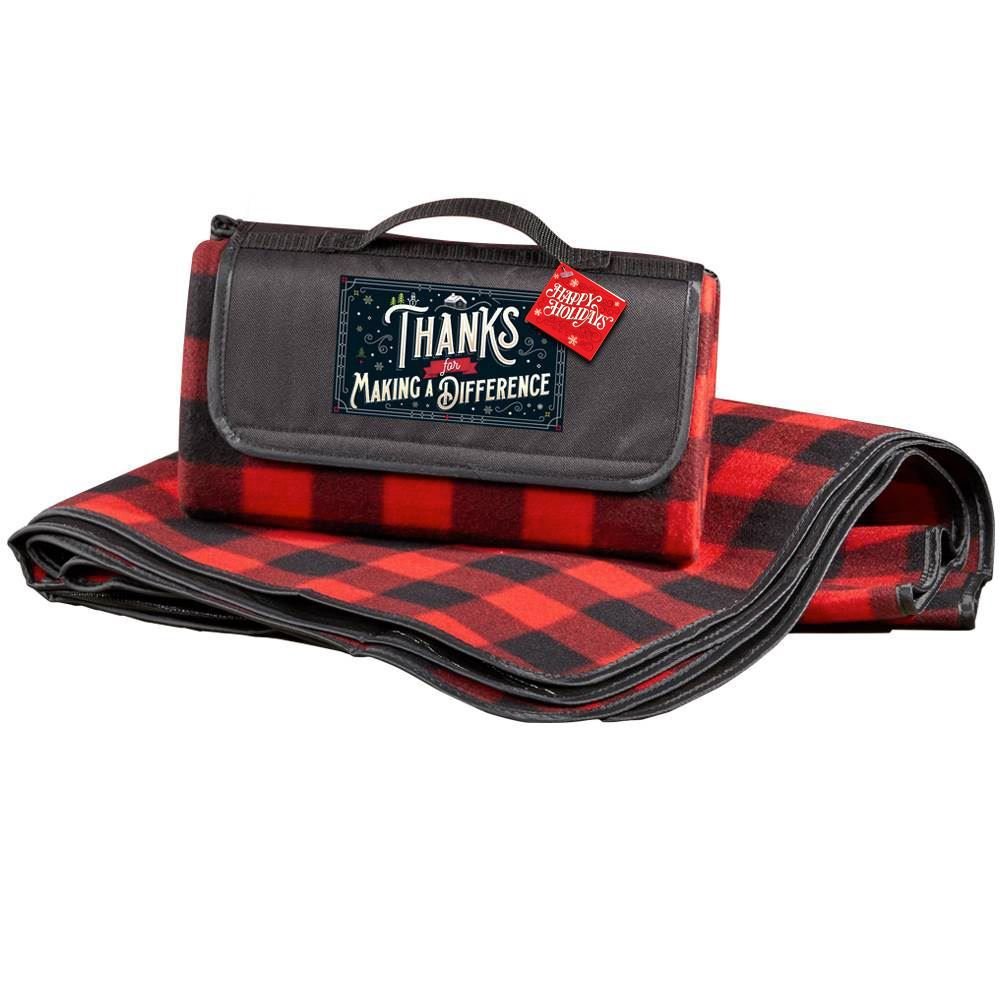 Thanks For Making A Difference Buffalo Plaid Fleece Picnic Blanket With Holiday Gift Card