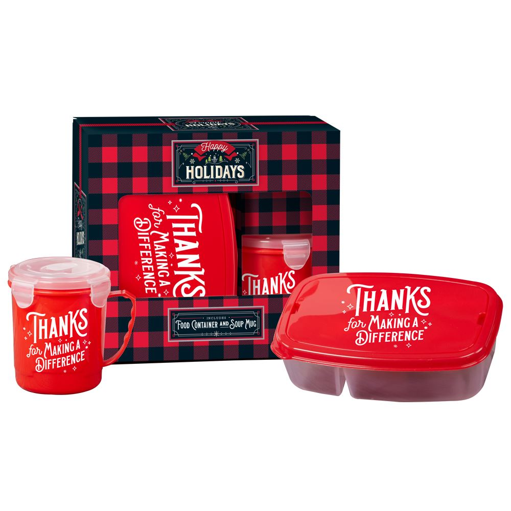 Thanks For Making A Difference Soup & Salad To-Go Gift Set in Holiday Buffalo Plaid Gift Box