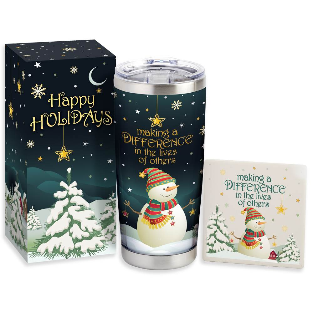 Making A Difference In The Lives Of Others Full-Color Insulated Tumbler And Coaster Holiday Gift Set