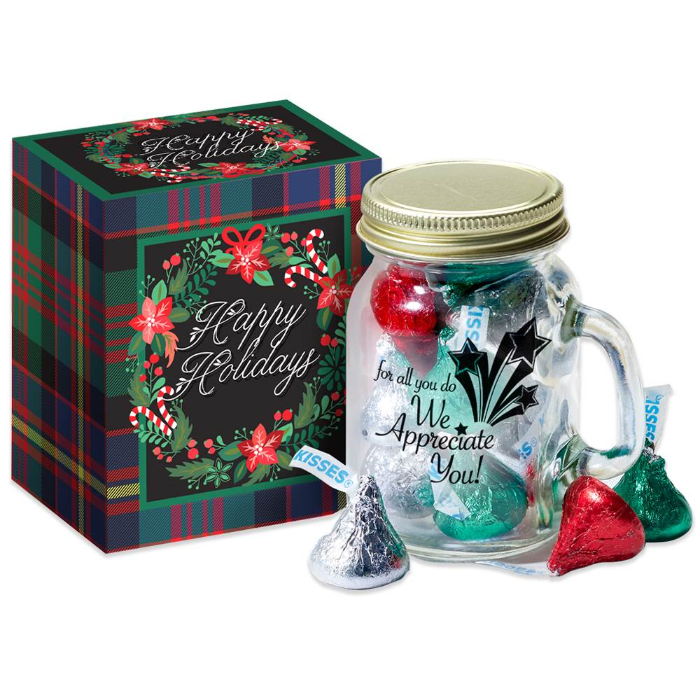For All You Do, We Appreciate You! Mini Mason Jar Mug & Hershey's® Kisses® in Holiday Gift Box