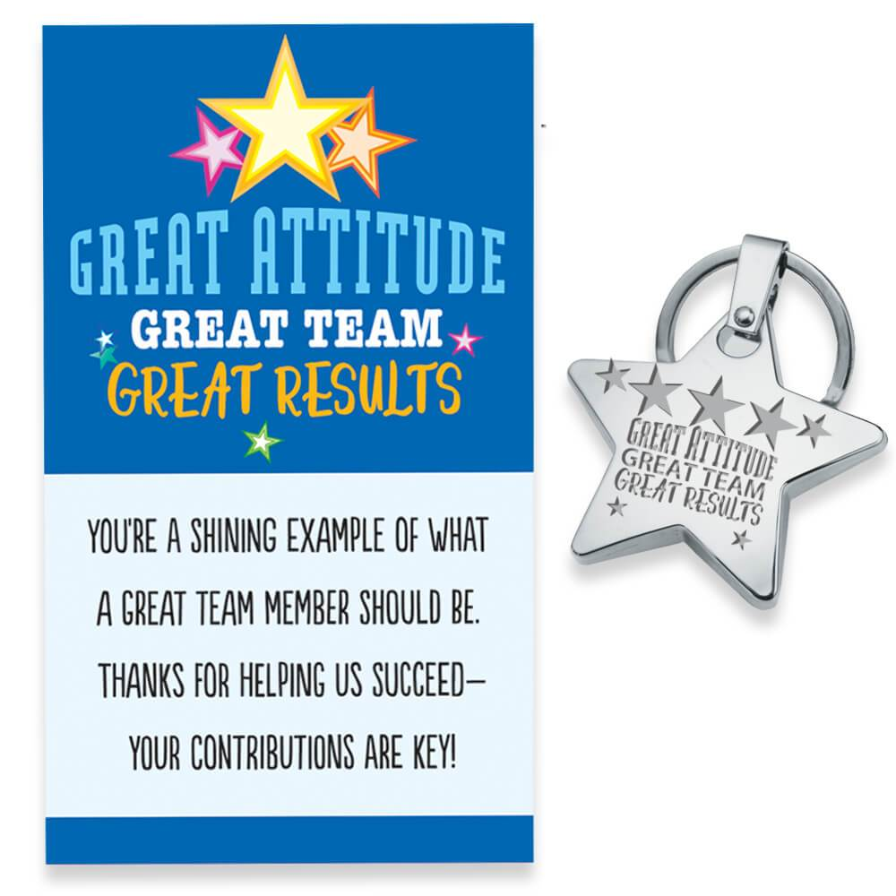 Great Attitude, Great Team, Great Results Star Key Tag With Keepsake Card