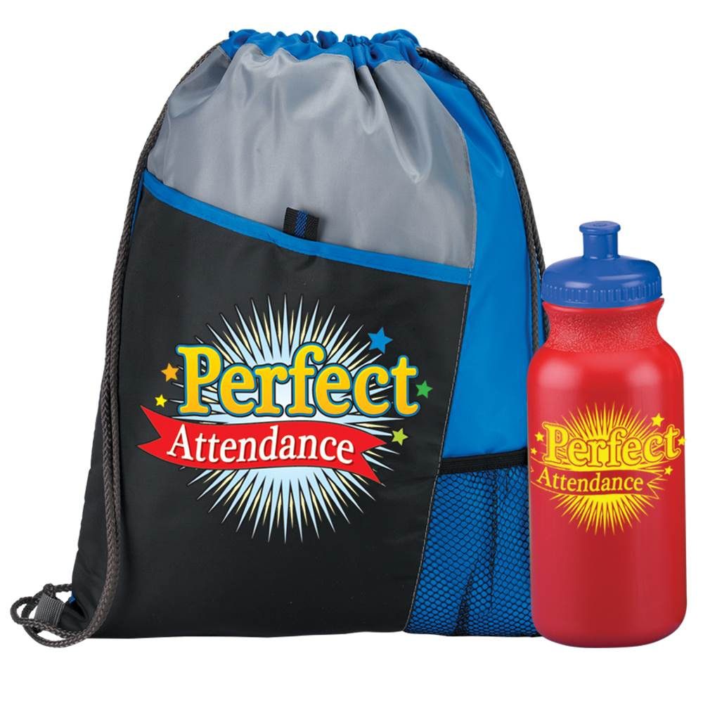 Perfect Attendance Drawstring Backpack & Water Bottle 20-Oz. Combo