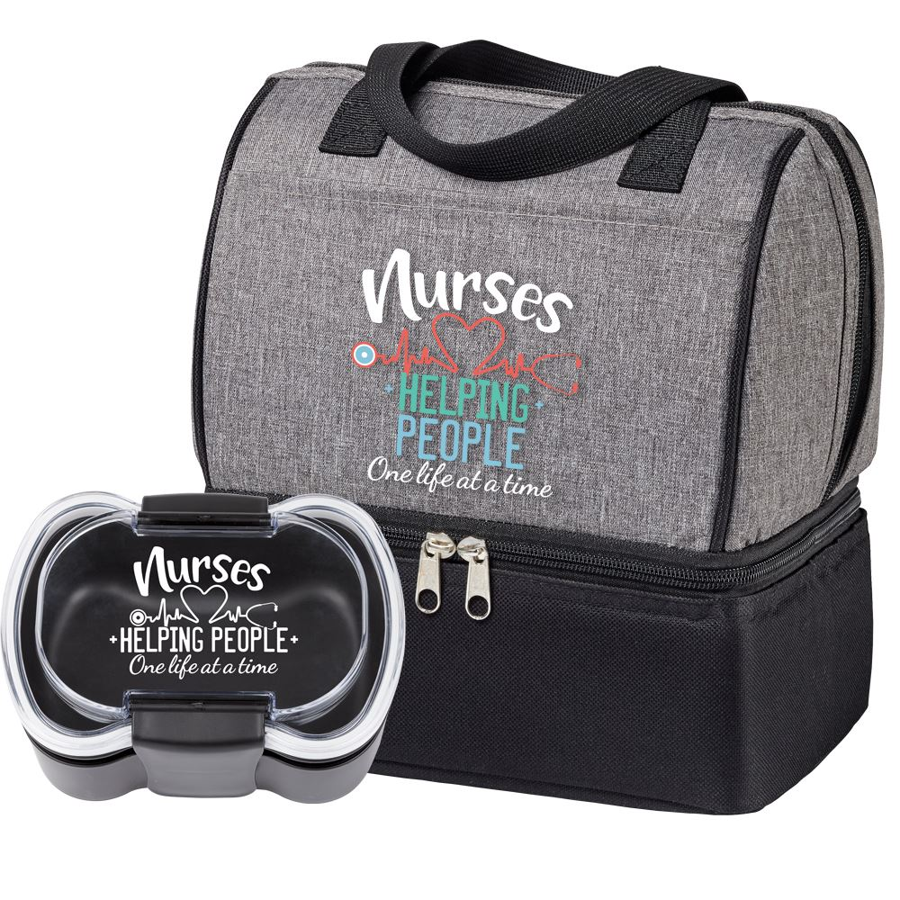 Nurses Helping People One Life At A Time Lunch/Cooler Bag & 2-Tier Container Gift Set