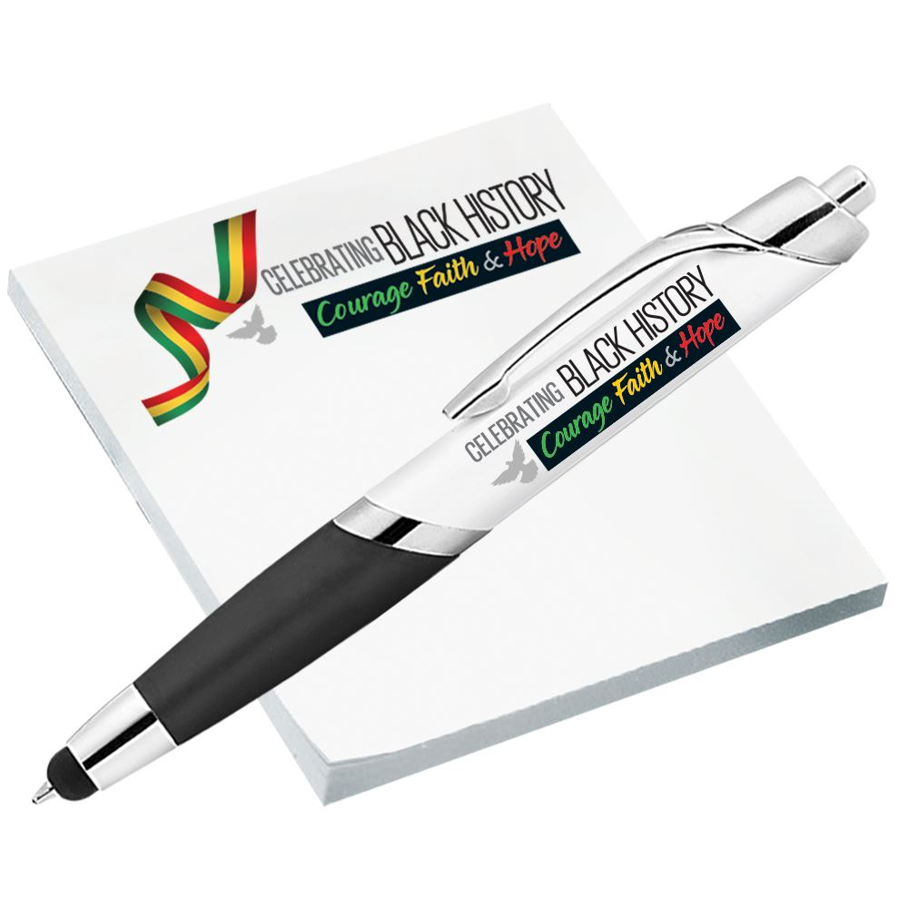 Black History: Celebrating Courage, Faith & Hope Sticky Pad And Stylus Pen Set