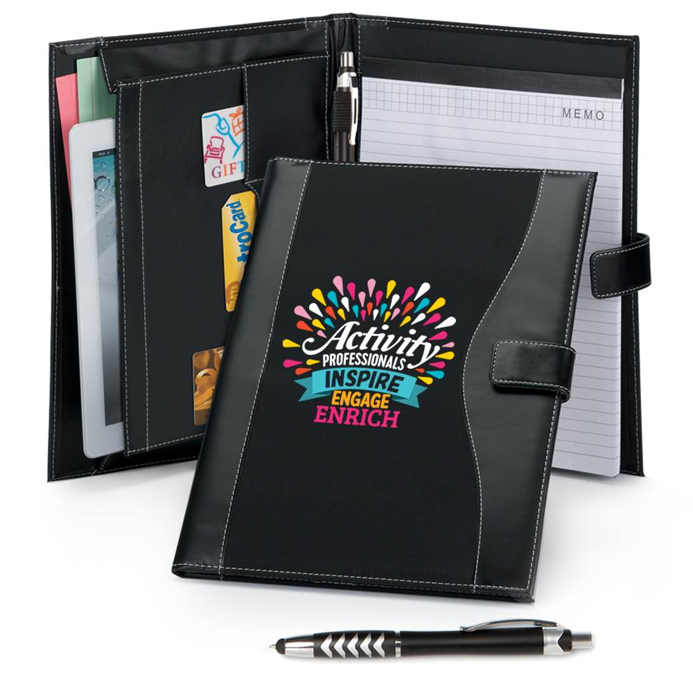 Activity Professionals: Inspire, Engage, Enrich Leatherette Portfolio With Stylus Pen